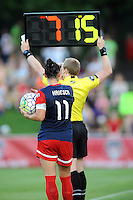 Boyds, MD - Saturday June 25, 2016: Referees, Ali Krieger during a United States National Women's Soccer League (NWSL) match between the Washington Spirit and Sky Blue FC at Maureen Hendricks Field, Maryland SoccerPlex.