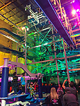 Jordon's Furniture, New Haven, CT. Water show. Indoor ropes course. It Adventure Ropes Course