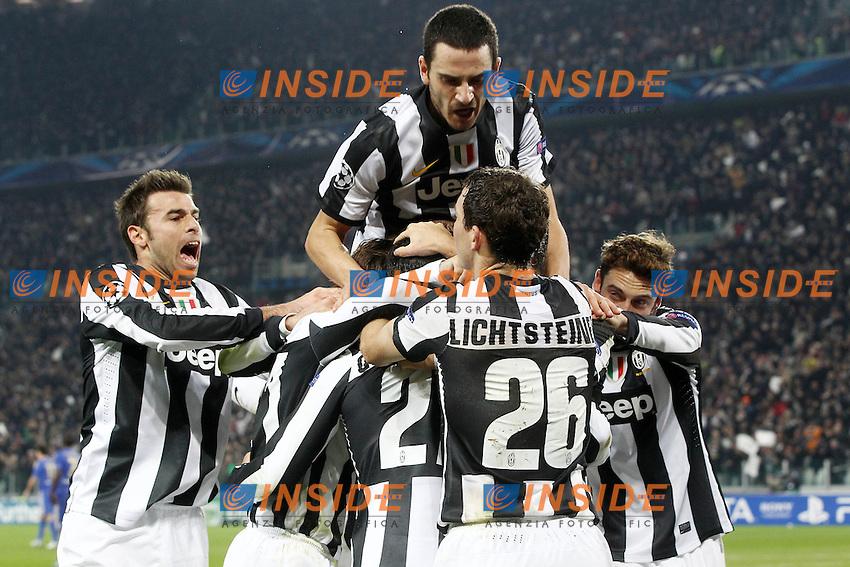 Esultanza Fabio Quagliarella Juventus.Goal celebration.Torino 20/11/2012 Juventus Stadium.Football Calcio UEFA Champions League 2012/13.Juventus v Chelsea.Foto Insidefoto Paolo Nucci.