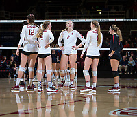 STANFORD, CA - December 1, 2018: Kathryn Plummer, Audriana Fitzmorris, Meghan McClure, Jenna Gray, Morgan Hentz at Maples Pavilion. The Stanford Cardinal defeated Loyola Marymount 25-20, 25-15, 25-17 in the second round of the NCAA tournament.