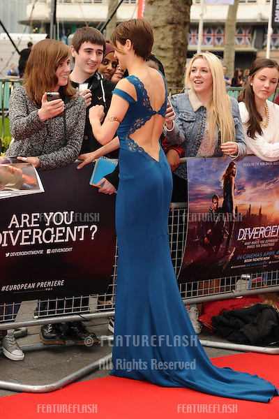 "Shailene Woodley arrives for the ""Divergent"" UK premiere at the Odeon Leicester Square, London. 30/03/2014 Picture by: Steve Vas / Featureflash"