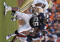 12 November 2005:  D'Brickashaw Ferguson (66)..The Virginia Cavaliers defeated the Georgia Tech Yellow Jackets 27-17 at Scott Stadium in Charlottesville, VA.