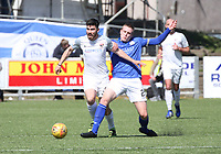 Iain Wilson tackling Andrew Steeves in the SPFL Ladbrokes Championship Play Off semi final match between Queen of the South and Montrose at Palmerston Park, Dumfries on  11.5.19.