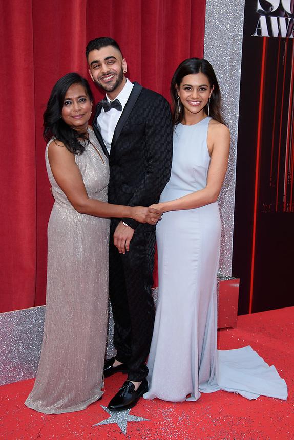 Bharti Patel, Sunjay Midda and Lisa Amlalamanar<br /> arriving for the British Soap Awards 2018 at the Hackney Empire, London<br /> <br /> ©Ash Knotek  D3405  02/06/2018