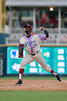 Frisco RoughRiders pitcher James Jones (20) during a Texas League game against the Amarillo Sod Poodles on July 13, 2019 at Dr Pepper Ballpark in Frisco, Texas.  (Mike Augustin/Four Seam Images)