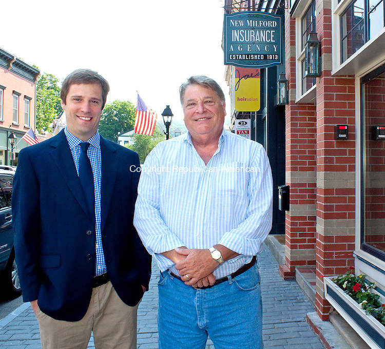 NW MILFORD, CT.-24 JUNE 2013 062413DA03- Good Works Insurance, in New Milford, Senior Vice President, James E. Kick, left, and Vice President Nat Worden, right, stand outside their office building on Monday. The company which recently made a major donation to the New Milford schools, says donating half of its annual profits is all part of its business model.<br /> Darlene Douty Republican-American