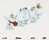 BNPS.co.uk (01202 558833)<br /> Pic: Bonhams/BNPS<br /> <br /> PICTURED: The Snowman: An original animation cel of snowmen dancing.<br /> <br /> Original animation cells from the Christmas film 'The Snowman' have sold at auction for £14,000.<br />  <br /> The 16 drawings were sketched on celluloid plastic and then filmed in sequence to give the impression they were moving.<br /> <br /> They were sold individually, with the most valuable being a picture of James and the Snowman embraced in a hug.