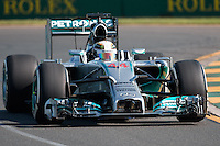 March 14, 2014: Lewis Hamilton (GBR) from the Mercedes AMG Petronas F1 Team during practice session two at the 2014 Australian Formula One Grand Prix at Albert Park, Melbourne, Australia. Photo Sydney Low.