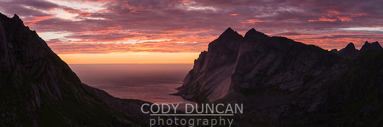 Colorful sunset over Bunes beach, Moskenesøy, Lofoten Islands, Norway