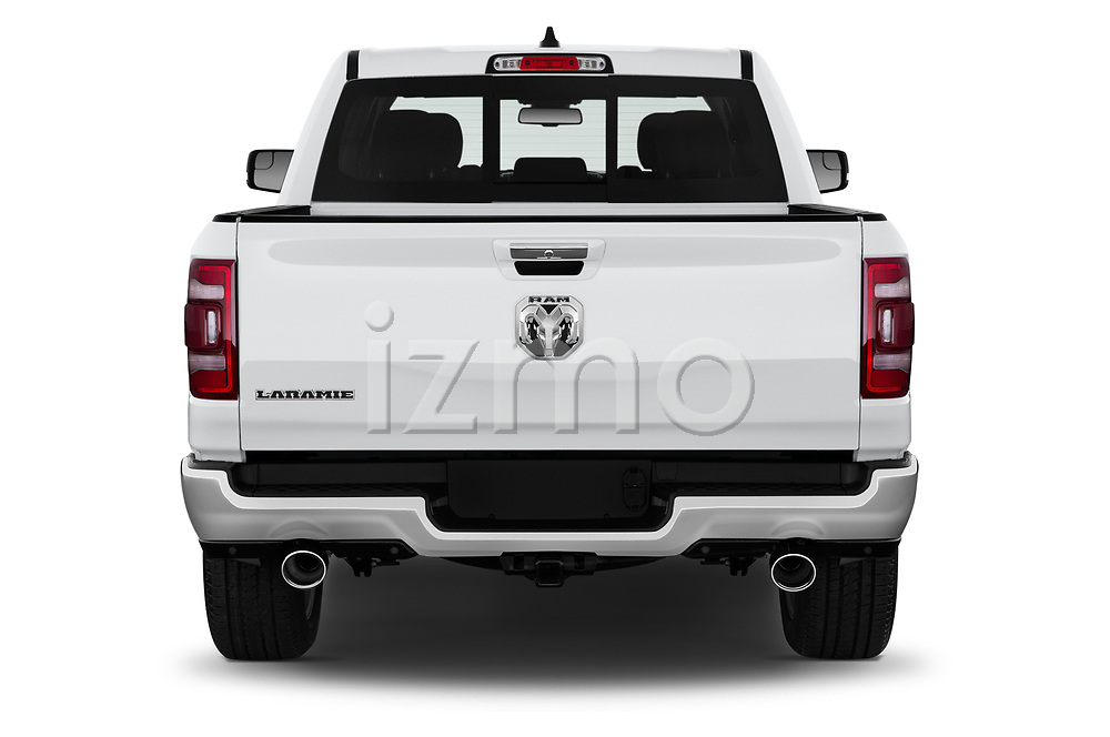 Straight rear view of a 2019 Ram 1500 Crew Cab Laramie Short Box 4x2 4 Door Pick Up stock images
