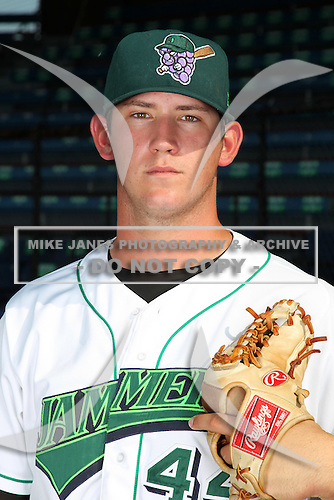 Jamestown Jammers pitcher Josh Hodges (44) poses for a photo before a game vs. the Staten Island Yankees at Russell Diethrick Park in Jamestown Jammers, New York July 15, 2010.   Jamestown defeated Staten Island 5-1.  Photo By Mike Janes/Four Seam Images