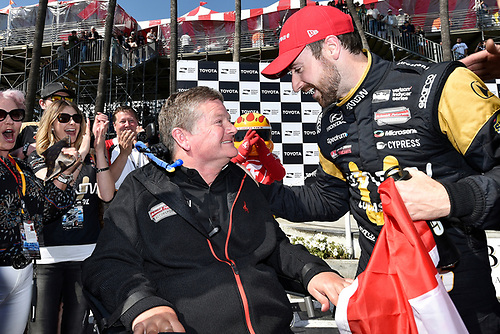 2017 Verizon IndyCar Series<br /> Toyota Grand Prix of Long Beach<br /> Streets of Long Beach, CA USA<br /> Sunday 9 April 2017<br /> James Hinchcliffe and Sam Schmidt celebrates the win in victory lane<br /> World Copyright: Scott R LePage/LAT Images<br /> ref: Digital Image lepage-170409-LB-7652