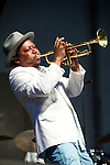 Kermit Ruffins performs during the New Orleans Jazz & Heritage Festival in New Orleans, LA.