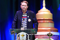 USA Team Captain Davis Love III speaks on stage at the Closing Ceremony after Sunday's Singles Matches of the 39th Ryder Cup at Medinah Country Club, Chicago, Illinois 30th September 2012 (Photo Colum Watts/www.golffile.ie)