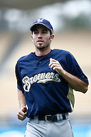 J.J. Hardy of the Milwaukee Brewers during batting practice before a game from the 2007 season at Dodger Stadium in Los Angeles, California. (Larry Goren/Four Seam Images)