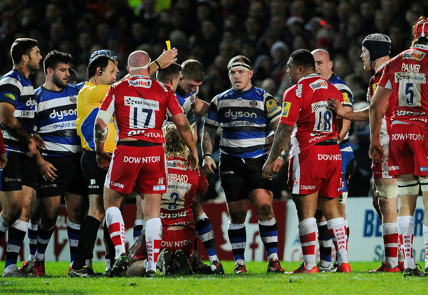 Gloucester Rugby's Sila Puafisi yellow carded for scrum infringement against Bath Rugby<br /> <br /> Photographer Ashley Western/CameraSport<br /> <br /> Rugby Union - Aviva Premiership - Gloucester v Bath Rugby - Saturday 20th December 2014 - Kingsholm Stadium - Gloucester<br /> <br /> &copy; CameraSport - 43 Linden Ave. Countesthorpe. Leicester. England. LE8 5PG - Tel: +44 (0) 116 277 4147 - admin@camerasport.com - www.camerasport.com