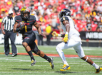 College Park, MD - September 9, 2017: Maryland Terrapins wide receiver D.J. Moore (1) runs with the ball during game between Towson and Maryland at  Capital One Field at Maryland Stadium in College Park, MD.  (Photo by Elliott Brown/Media Images International)