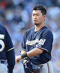 Norichika Aoki (Brewers),.APRIL 8, 2013 - MLB :.Norichika Aoki of the Milwaukee Brewers during the baseball game against the Chicago Cubs at Wrigley Field in Chicago, Illinois, United States. (Photo by AFLO)
