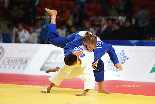 (L-R) Erika Miranda (BRA), Zhanna Stankevich (ARM), AUGUST 25, 2015 - Judo : World Judo Championships Astana 2015 Women's -52kg 2nd round at Alau Ice Palace in Astana, Kazakhstan. (Photo by AFLO SPORT)