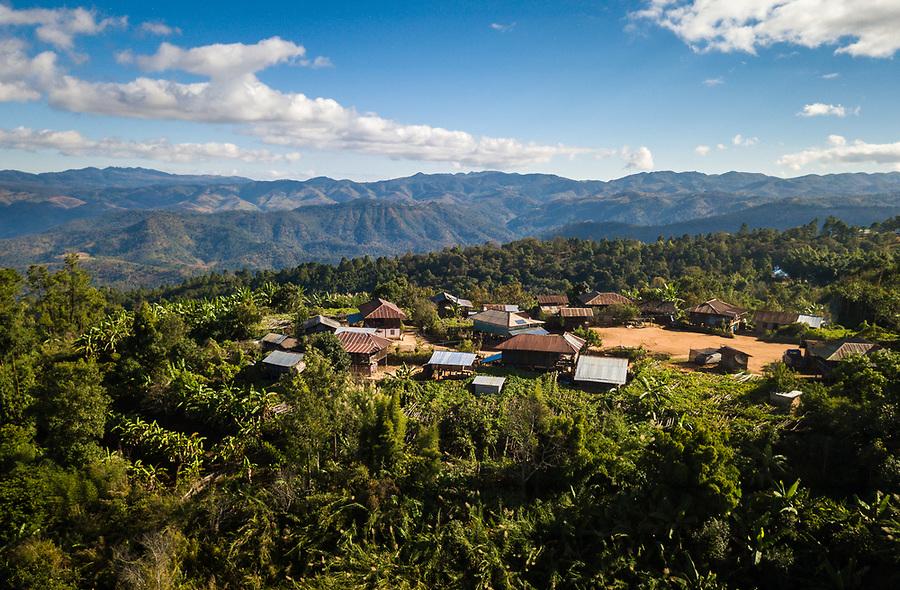 KYAING TONG, MYANMAR - CIRCA DECEMBER 2017:  Aerial view of the Naung Cho Wa Village of  near Kyaing Tong in Myanmar