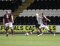 Jack Smith beats Callum Tapping in the St Mirren v Heart of Midlothian Clydesdale Bank Scottish Premier League U20 match played at St Mirren Park, Paisley on 6.11.12.
