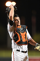 Glendale Desert Dogs catcher Mike Ohlman (6) during an Arizona Fall League game against the Surprise Saguaros on October 9, 2014 at Camelback Ranch in Phoenix, Arizona.  Surprise defeated Glendale 7-4.  (Mike Janes/Four Seam Images)