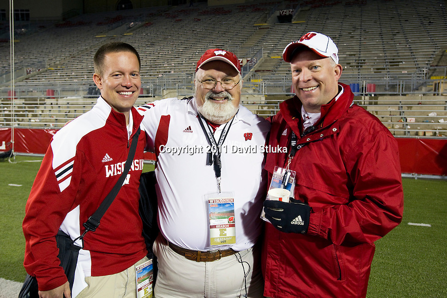 Wisconsin Badgers Daron Jones, Paul Terry and Todd Nelson after an NCAA Big Ten Conference college football game against the Nebraska Cornhuskers on October 1, 2011 in Madison, Wisconsin. The Badgers won 48-17. (Photo by David Stluka)