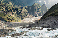 Views into Fox Glacier valley from its terminus, Westland National Park, World Heritage Area, South Westland, New Zealand