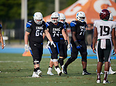 Ramsey Kifolo (64), Greg Crippen (74), Patrick Evans (71) - Norland Vikings (Miami) vs IMG Academy Football on October 26, 2019 at IMG Academy in Bradenton, Florida.  (Mike Janes Photography)