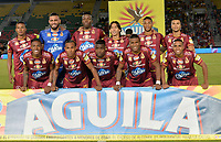 IBAGUÉ- COLOMBIA , 8-04-2018:Formación del Deportes Tolima contra el Atlético Junior  durante partido por la fecha 13 de la Liga Águila I 2018 jugado en el estadio Manuel Murillo Toro de la ciudad de Ibagué. / Team of Deportes Tolima  agaisnt Atletico Junior during match for the date 13 of the Aguila League I 2018 at Manuel Murillo Toro  stadium in Ibague city. Photo: VizzorImage  /Juan Carlos Escobar / Contribuidor
