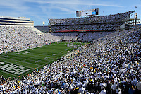 21 November 2015:  Penn State fans cheer during the whole stadium white out or white house in Beaver Stadium. The Penn State Nittany Lions vs. the Michigan Wolverines at Beaver Stadium in State College, PA. (Photo by Randy Litzinger/Icon Sportswire)