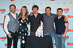 """The crew of the Movie, (from Left to Right) Alex Odogherty, Patricia Conde, Ivan Massague, Tom Fernandez, Secun de la Rosa and Cook the dog attends thethe photocall of the presentation of the movie """"Pancho El Perro Millonario"""" at the NH Palacio de Tepa Hotel in Madrid, Spain. June 3, 2014. (ALTERPHOTOS/Carlos Dafonte)"""