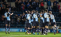 Celebrations as Sam Wood of Wycombe Wanderers scores a last minute goal to make it 2-0 during the Sky Bet League 2 match between Wycombe Wanderers and Crawley Town at Adams Park, High Wycombe, England on 28 December 2015. Photo by Andy Rowland / PRiME Media Images