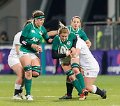 1st February 2019, Energia Park, Dublin, Ireland; Womens Six Nations rugby, Ireland versus England; Claire Molloy of Ireland is tackled by Amy Cokayne of England
