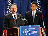 Washington, DC - January 8, 2009 -- Virginia Governor Tim Kaine (L) speaks alongside United States President-elect Barack Obama after Kaine was introduced as the new Chairman of the Democratic National Comittee in Washington on Thursday, January 8, 2009. .Credit: Kevin Dietsch - Pool via CNP