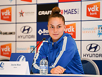 20190819 – GENT, BELGIUM : Gent's Jassina Blom pictured during a pre-season press conference presenting the new players  , new staff and new methods for the next season 2019-2020 for the AA Gent Ladies in the Belgian top division – The Superleague -  , Monday 19 th August 2019 at the Ghelamco Stadium in GENT  , Belgium  .  PHOTO SPORTPIX.BE | DAVID CATRY