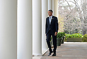 United States President Barack Obama walks to the podium to make a statement after it was announced Iran and and six world powers agreed on the outlines of an understanding that would open the path to a final phase of nuclear negotiations in the press briefing of the White House April 2, 2015 in Washington, DC. <br /> Credit: Olivier Douliery / Pool via CNP