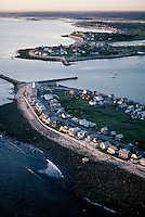 Scituate harbor entrance aerial sunrise, Scituate, MA