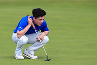 Rory Williamson (Holywood) on the 16th green during Round 2 - Strokeplay of the North of Ireland Championship at Royal Portrush Golf Club, Portrush, Co. Antrim on Tuesday 10th July 2018.<br /> Picture:  Thos Caffrey / Golffile