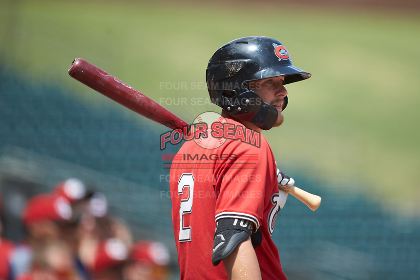 Brice Turang (2) of the Carolina Mudcats waits for his turn to bat during the game against the Winston-Salem Dash at BB&T Ballpark on August 4, 2019 in Winston-Salem, North Carolina. The Dash defeated the Mudcats 7-5. (Brian Westerholt/Four Seam Images)