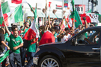 Los Angeles, CA -  Monday, June 23, 2014: Hundreds of Mexico fans celebrated Mexico's victory over Croatia on the streets of downtown  Huntington Park.