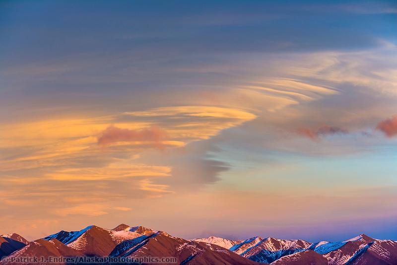Sunset over the Philip Smith Mountains of the Arctic North Slope, Brooks Range, Alaska.
