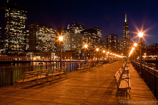 San Francisco's Pier 7 at night