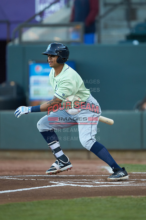 Blake Perkins (22) of the Wilmington Blue Rocks follows through on his swing against the Winston-Salem Dash at BB&T Ballpark on April 15, 2019 in Winston-Salem, North Carolina. The Dash defeated the Blue Rocks 9-8. (Brian Westerholt/Four Seam Images)