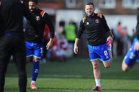 Blackpool's Jay Spearing during the pre-match warm-up <br /> <br /> Photographer Kevin Barnes/CameraSport<br /> <br /> The EFL Sky Bet League One - Fleetwood Town v Blackpool - Saturday 7th March 2020 - Highbury Stadium - Fleetwood<br /> <br /> World Copyright © 2020 CameraSport. All rights reserved. 43 Linden Ave. Countesthorpe. Leicester. England. LE8 5PG - Tel: +44 (0) 116 277 4147 - admin@camerasport.com - www.camerasport.com