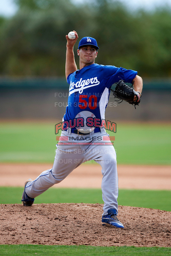 Los Angeles Dodgers minor league pitcher James Campbell #50 during an instructional league game against the Chicago White Sox at the Camelback Ranch Training Complex on October 6, 2012 in Glendale, Arizona.  (Mike Janes/Four Seam Images)