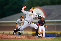 West Virginia Black Bears relief pitcher Dylan Prohoroff (32) during a game against the Batavia Muckdogs on June 28, 2016 at Dwyer Stadium in Batavia, New York.  Batavia defeated West Virginia 3-1.  (Mike Janes/Four Seam Images)