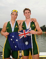 Ottensheim, AUSTRIA.  A  Final, AUS JM 2- awards dock, Ryan EDWARDS and Matthew DIGNAN, at the 2008 FISA Senior and Junior Rowing Championships,  Linz/Ottensheim. Saturday,  26/07/2008.  [Mandatory Credit: Peter SPURRIER, Intersport Images] Rowing Course: Linz/ Ottensheim, Austria