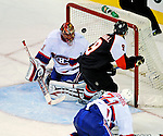 15 November 2008:  Montreal Canadiens' goaltender Jaroslav Halak from Slovakia has one glance off his shoulder and over the net making the save against the Philadelphia Flyers in the third period at the Bell Centre in Montreal, Quebec, Canada.  The Canadiens, celebrating their 100th season, fell to the visiting Flyers 2-1. ***Editorial Sales Only***..Mandatory Photo Credit: Ed Wolfstein Photo *** Editorial Sales through Icon Sports Media *** www.iconsportsmedia.com