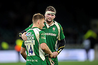 Matt Symons of London Irish commiserates team-mate Alex Lewington after the match. Aviva Premiership match, between London Irish and Wasps on November 28, 2015 at Twickenham Stadium in London, England. Photo by: Patrick Khachfe / JMP